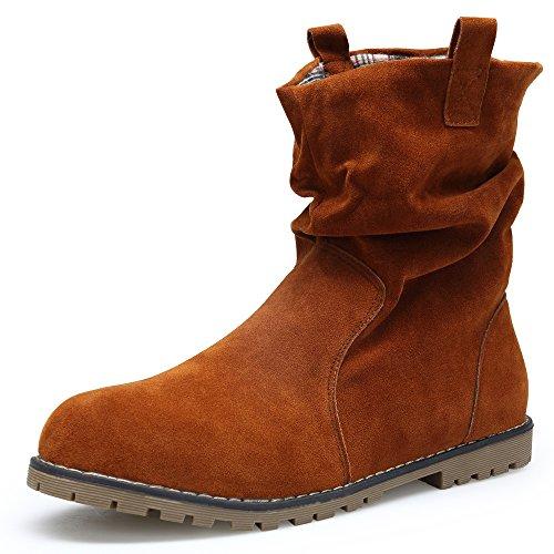 KOUDYEN Mujer Ante Zapatos Antideslizante Boots Botines Botas (EU41, Marrón)