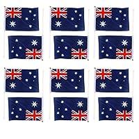 Yeah67886 12Pcs Hand Waving Australia National Flags Plastic Poles Party Supplies (21x14cm)