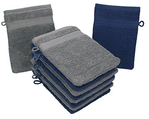 Betz lot de 10 gants de toilette taille 16x21 cm 100% coton Premium couleur gris anthracite, bleu foncé
