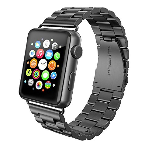 Apple Watch Armband 42mm, Swees Edelstahl Replacement Wrist Strap Band Uhrenarmband Schlaufe Smart Watch Armbänder mit Metallschließe für Apple Watch 42mm Series 3 / 2 / 1 - Schwarz
