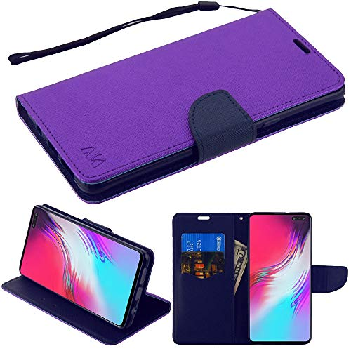 MyBAT Schutzhülle/Brieftasche aus PU-Leder für Samsung Galaxy S10 5G, mit Schlaufe und Lasche, mit Eingabestift, Violett/Dunkelblau -