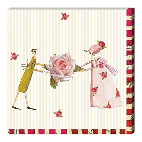 Grätz Verlag 20 Stück Servietten, rot, beige, gestreift, Retro, Vintage mit Blumen - Rose und Figuren, passende zu Weihnachten, Rose und Figuren, bunt, quadratisch