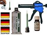 Rapid PUR 50g Kunststoff Set PUR Speed 50g + Primer / Glasfasermatte / 2 Mixtüllen / Pistole