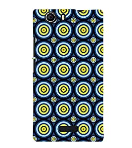 Printvisa Blue Yellow Polka Dot Illusion Pattern Back Case Cover for Micromax Canvas Nitro 2 E311::Micromax Canvas Nitro 2 (2nd Gen)
