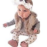 Tenue de Noël Bovake pour bébé - Fille ou garçon - Ensemble 3pièces avec barboteuse à imprimé, pantalon et chapeau