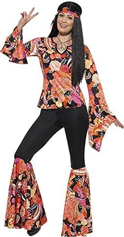 Smiffy's 45516M - Damen Hippie Kostüm, Oberteil, Hose, Kopftuch und Medaillon, Größe: 40-42, mehrfarbig