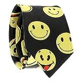 Cravate Smiley - Cravate Fantaisie Originale Noire et Jaune