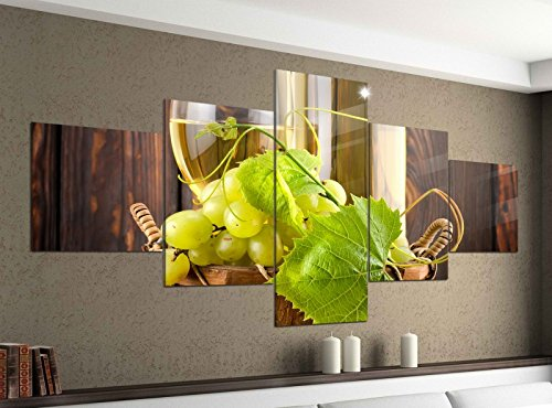 Leinwandbild 5 tlg. 200cmx100cm Wein Weißwein Glas Flasche Trauben Bilder Druck auf Leinwand Bild Kunstdruck mehrteilig Holz 9YA557, 5Tlg 200x100cm:5Tlg 200x100cm (Bilder Und Wein Trauben)