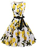 Gardenwed Annata 1950 Retrò Rockabilly Polka Vestito da Audery Swing Senza Maniche Abito da Cocktail Partito Lemon Flower S
