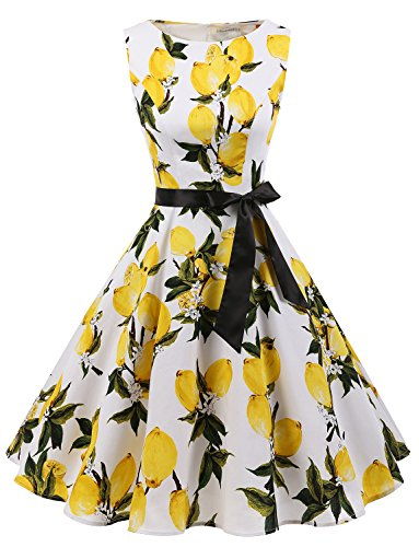 Gardenwed Damen Vintage 1950er Partykleid Rockabilly Ärmellos Retro Cocktailkleid Lemon Flower XL