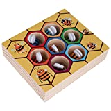 Baby Montessori Hive Games Board 7Pcs Bees with Clamp Fun Picking Catching Bee