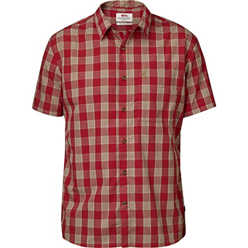 Fjällräven Herren Övik Button Down Shirt Ss Hemd Deep Red