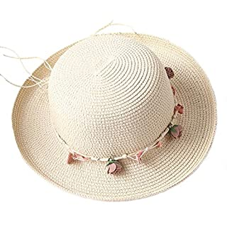Aikesi Beach Sun Caps Women's Hats Spring and Summer Wide Brim Sun Protection Straw Flanging Hats,Beige,56~58cm, Hat 7cm Wide