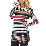Vectry Damen Mode Lose Casuals Gestreiftes Revers Langarm Sweatshirt für Damen Blusen Tunika Shirts Tops Oberteile Blusen Tuniken