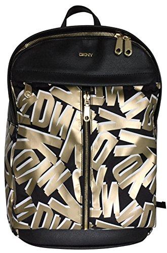 donna-karan-dkny-backpack-active-printed-logo-metallic-gold-and-white-print-black-rucksack-knapsack-