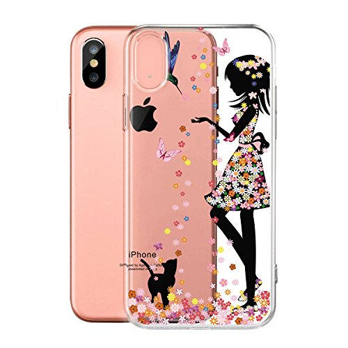 "Coque pour Apple iPhone X , IJIA Transparent Rose Fée Aux Fleurs Papillon TPU Doux Silicone Bumper Case Cover Shell Housse Etui pour Apple iPhone X (5.8"") WM49"