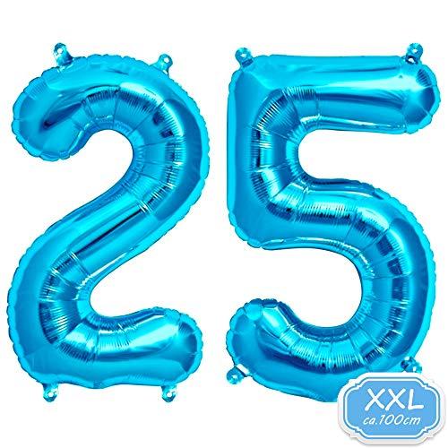Zahl in Blau - XXL / ca.100cm Riesenzahl Ballons - Folienballons für Luft oder Helium als Geburtstag, Hochzeit , Jubiläum oder Abschluss Geschenk, Party Dekoration (Blau [ 25 ]) ()