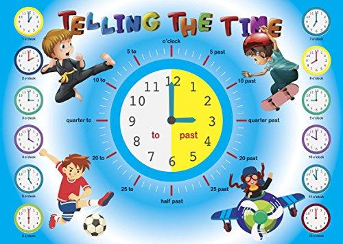 Sagen Die Zeit Poster | Educational Wand Diagramm | Kinder Poster | Klassenzimmer | Schule | Kinder Raum Poster | Jungen Kind A4oder A3| 170gsm Glanz Qualität Papier A3 (297x420mm)