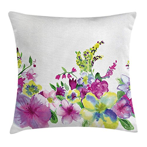 Watercolor Flower House Decor Throw Pillow Cushion Cover, Hybrid Garden Floret Composition with Heathers and Stocks Art, Decorative Square Accent Pillow Case, 18 X 18 Inches, Pink Green -