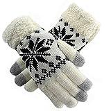 zolimx Copo de nieve de mujer invierno cálido mitones guantes de impresión (Talla única, blanco)