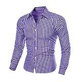 IMJONO Herren Herbst und Winter Langarm-Plaid Selbstkultivierung Shirt Top Bluse (EU-50/CN-2XL,Blau)
