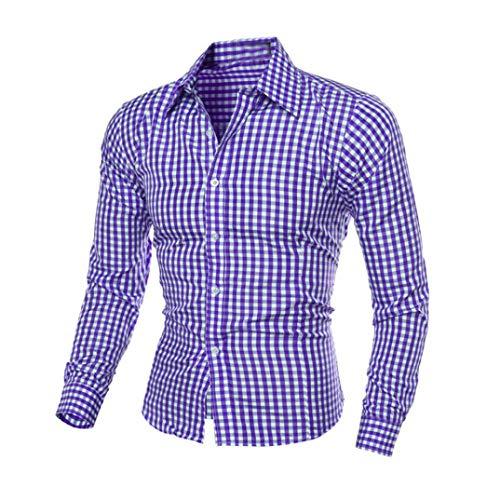 IMJONO Herren Herbst und Winter Langarm-Plaid Selbstkultivierung Shirt Top Bluse (EU-48/CN-XL,Blau)