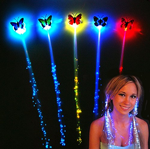 Wald Kostüme Halloween Tier (German Trendseller® - 6 x LED Schmetterling Haarschmuck inkl. Haarclip ┃ 36 cm ┃ Farbwechsel ┃ Regenbogen ┃ LED Schmuck ┃ 6)