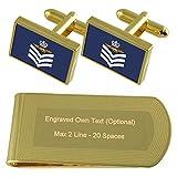 Select Gifts RAF Airforce Insignias de Rango de Sargento de Vuelo de Las tripulaciones de Tono Oro Gemelos Money Clip Grabado Set de Regalo