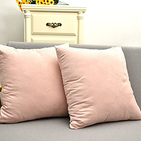 Natus Weaver Velvet Square Accent Throw Pillow Cover Cushion Case for Bed, 18 x 18, Baby Pink , Set of Two