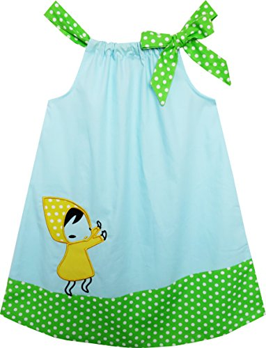 Mädchen Kleid Tank Niedlich Catoon Drucken Polka Punkt Blau Grün Gr.98 (Tank Bestickte Kleid Baumwolle)