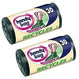 Handy Bag 15 Sacs Poubelle 30 L, Poignees Coulissantes, Recycles, Resistant, Anti-Fuites, 53 x 63 cm, Vert Fonce, Opaque - Lot de 2