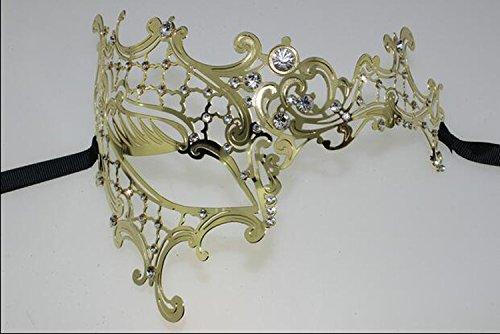 HXX Halloween Maske maskieren Partei Dress up Metall Iron Hollow cos halb Face Maske Augen, (Maske Wear Party Gold Halb)