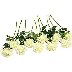 JUSTOYOU 10 Pack Seide Künstliche Rose Blumen Brautstrauss Blumen(weiß)