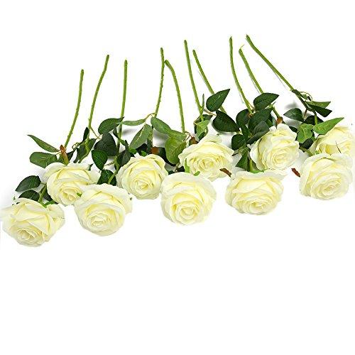 JUSTOYOU 10 Pack Seide Künstliche Rose Blumen Brautstrauss Blumen(weiß) (Weiße Rose Künstliche)