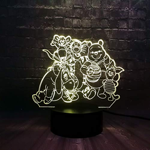 MLSWW 3D Nachtlicht 3D LED Nachtlicht Bär Schwein Tiger Illusion Kind USB Lampe Sleeper Light 7 Farbwechsel USB Base Batterie Fernbedienung -