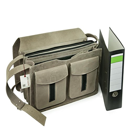 Große Aktentasche / Lehrertasche Größe XL aus Büffel-Leder, für Damen und Herren, Grau, Jahn-Tasche 676 Grau
