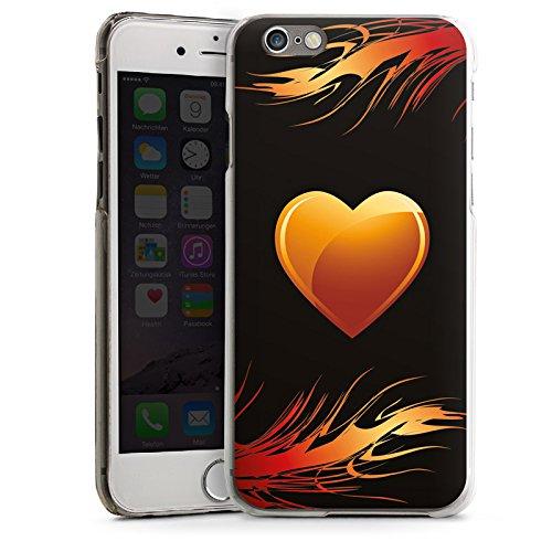 Apple iPhone 4 Housse Étui Silicone Coque Protection C½ur Flammes Amour CasDur transparent