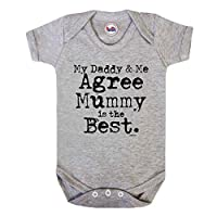 Daddy & Me Agree MUMMY Is Best Boys/Girls Unisex Baby Grow By BritTot 3/6 Months, Grey
