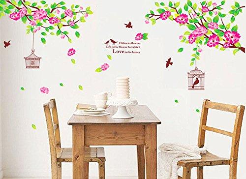 Winhappyhome Hibiscus Blumen Wand Aufkleber FüR Wohnzimmer Schlafzimmer Sofa TV Hintergrund Aufkleber Haus Dekor Entfernbare Abziehbilder (Hibiscus Blume Decal)