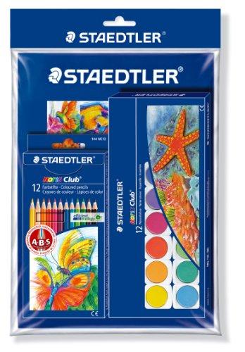 Staedtler 61 S144888 - Noris Club Malset Promotion Farbstifte, Malkasten mit Malblock Gratis