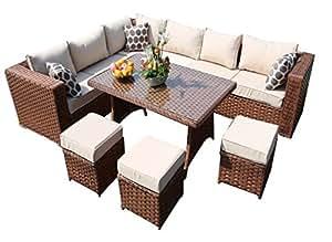 yakoe 50118r 9 sitzer papaver reihe rattan gartenm bel ecksofa und esszimmer set mit. Black Bedroom Furniture Sets. Home Design Ideas