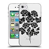 Head Case Designs Offizielle Anis Illustration Schwarz 2 Blumen Soft Gel Hülle für iPhone 4 / iPhone 4S