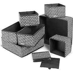 ilauke 8pcs Boîtes de Rangement Ouvertes en Textile Non-Tissé, Tiroir en Tissu,Cube de Rangement Pliable Coffre pour Linge, Jouets, Vêtement, avec poignées en Cuir et Etiquettes