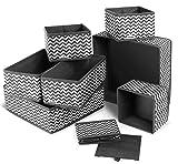 Agoer 8Pcs Boîtes de Rangement Ouvertes en Textile Non-Tissé, Tiroir en Tissu,Cube de Rangement Pliable Pliable Coffre pour Linge, Jouets, Vêtement, avec poignées en Cuir et Etiquettes