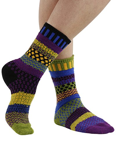 Solmate Socks - Odd or Mismatched Crew Socks for Women or for Men, Made with Recycled Cotton Yarns in USA, October Morning XL