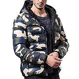 Riou Herren Kapuzenjacke Steppjacke Männer Winter Warm Camouflage Slim Zipper Hoodied Schneeflocke mit Kapuze Daunenjacke Übergangsjacke (2XL, Blau)