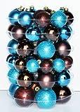 Thüringer Glasdesign JACK 59x Glas Christbaumkugeln Braun Türkis Matt Glanz 4 5 6 7 cm Kugeln Box