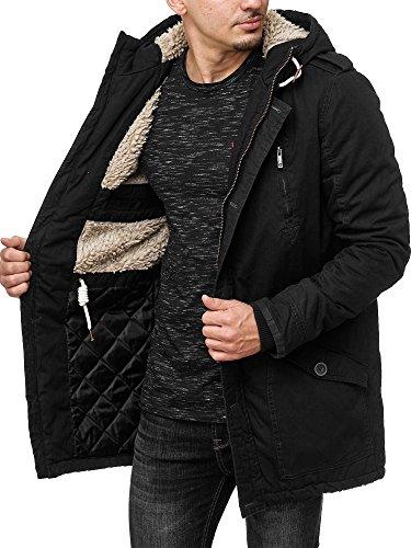 !Solid Herren Tejs warm gefütterter Parka mit Fellkapuze Winter Mantel Jacke Winterjacke Wintermantel 9000 Black S - 3