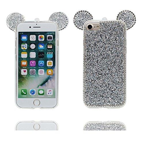 """Coque iPhone 7 Cover Cartoon 3D Oreille de souris, Light Slim Diamonds Bling Bead Transparent Cute iPhone 7 Étui iPhone 7 Case 4.7"""" Poussière Poof Slivery"""
