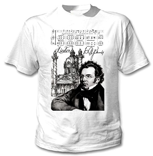 Teesquare1st Men's FRANZ SCHUBERT COMPOSER White T-Shirt